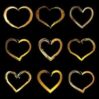 Conjunto de marco de corazón dorado