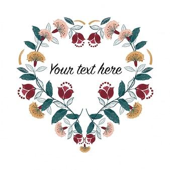 Conjunto de marco de corazón de invitación; boho flores, hojas, acuarela, aislado.