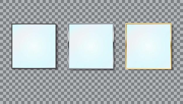 Conjunto de marco cuadrado de espejos realistas de diferentes colores aislado.