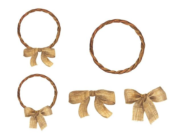 Conjunto de marco de cuerda marrón con lazo de arpillera. ilustración de acuarela.