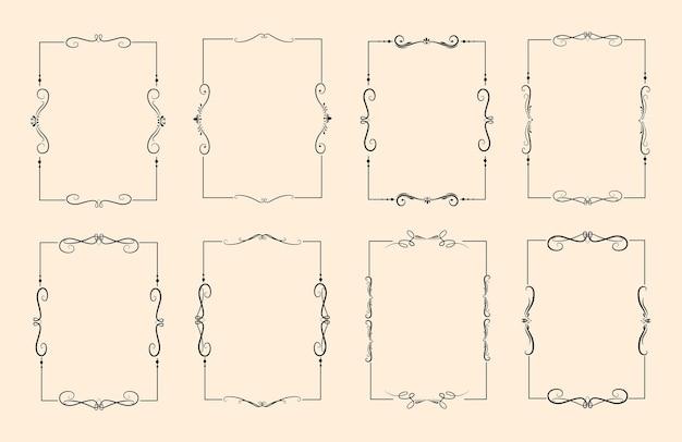 Conjunto de marco decorativo ornamental caligráfico clásico