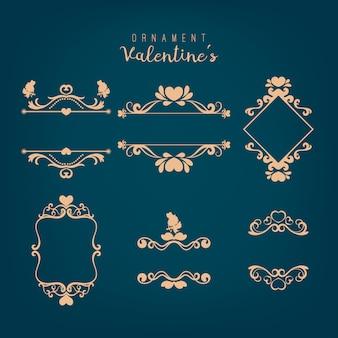 Conjunto de marco dibujado a mano. elemento de diseño romántico para invitaciones de boda