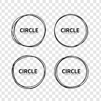 Conjunto de marco de dibujo de círculo dibujado a mano. elementos de diseño. objeto de imágenes prediseñadas para decoración. estilo doodle.