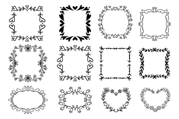 Conjunto de marco de doodle geométrico dibujado a mano
