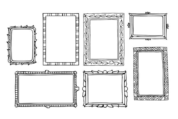 Conjunto de marco de doodle grabado