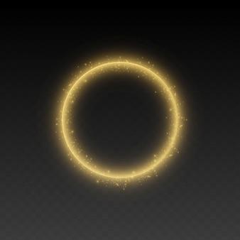 Conjunto de marco dorado con efectos de luces.