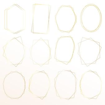 Conjunto de marco dorado geométrico.