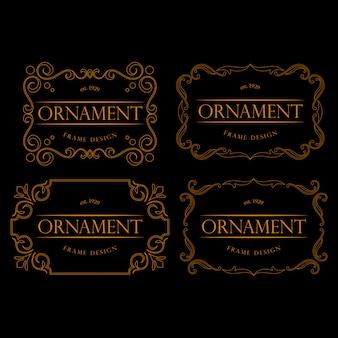 Conjunto de marco dorado de lujo