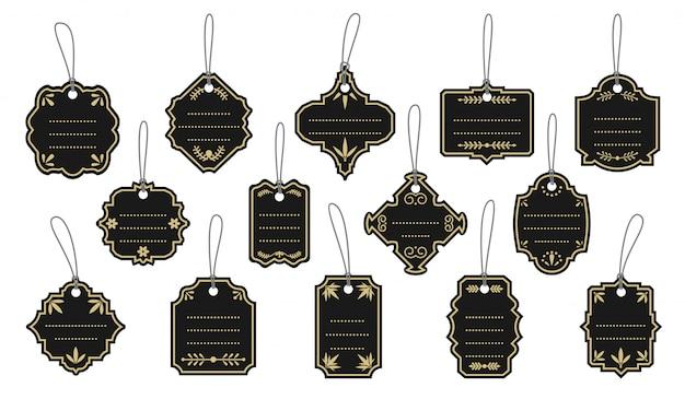 Conjunto de marco dorado retro etiquetas vintage negro. plantilla de banner pegatina con puntos para cuadro de texto. precio de venta de menú de borde vacío de forma diferente
