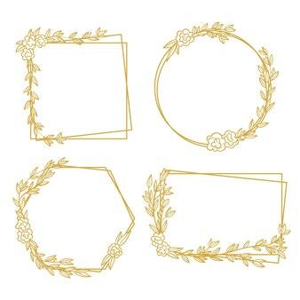 Conjunto de marco elegante adorno floral