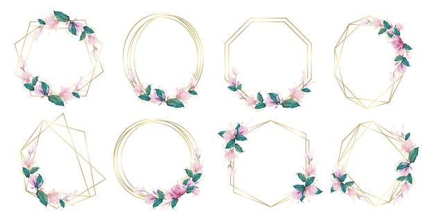 Conjunto de marco floral acuarela para logotipo de monograma de boda y diseño de logotipo de marca