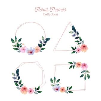 Conjunto de marco floral acuarela pintado a mano