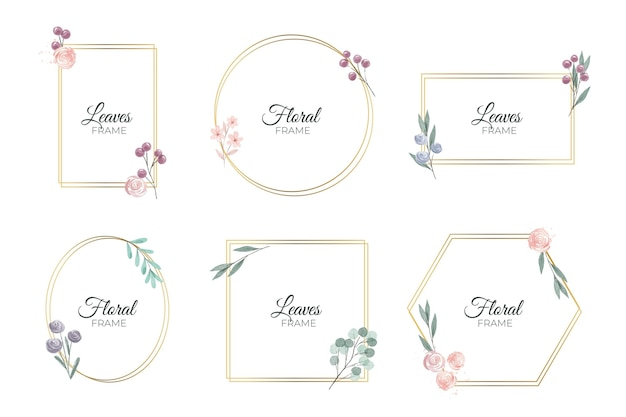 Conjunto de marco floral acuarela