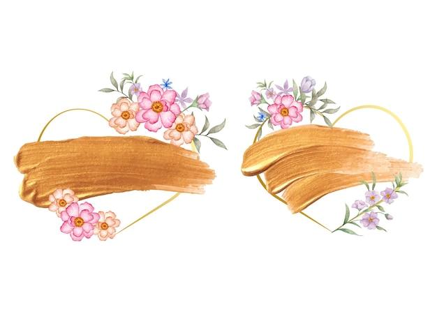 Conjunto de marco floral de día de san valentín en forma de corazón