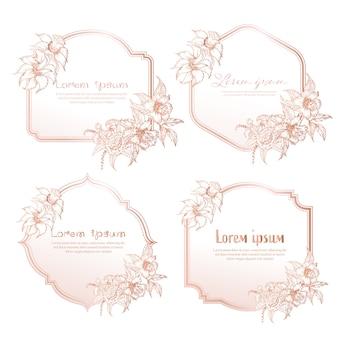 Conjunto de marco floral dibujado a mano. marco geométrico con flores dibujadas a mano, composición botánica.