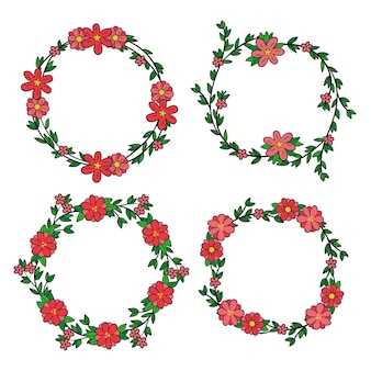 Conjunto de marco floral dibujado a mano