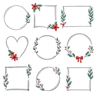 Conjunto de marco floral de guirnalda de navidad para decoración de texto.