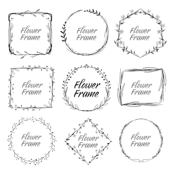 Conjunto de marco floral vintage dibujado a mano