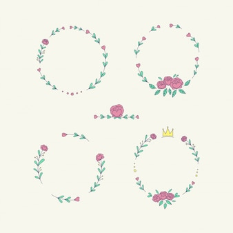 Conjunto de marco de flores corona
