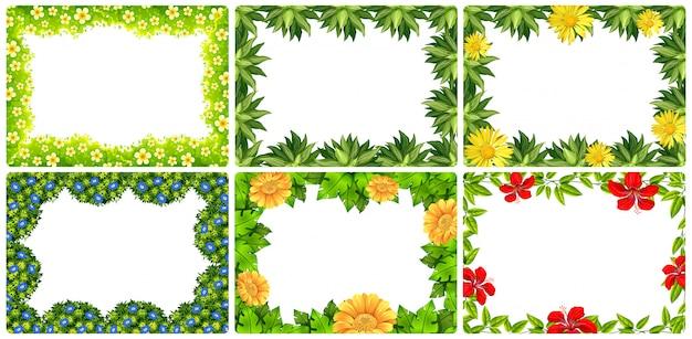 Conjunto de marco de flores de la naturaleza