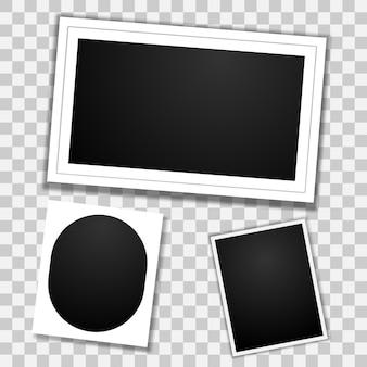 Conjunto de marco de fotos en blanco