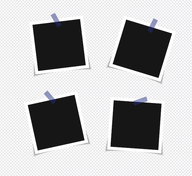 Conjunto de marco de fotos en cinta adhesiva aislado sobre fondo transparente