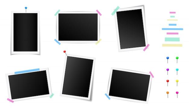 Conjunto de marco de fotos cuadrado con sombras.