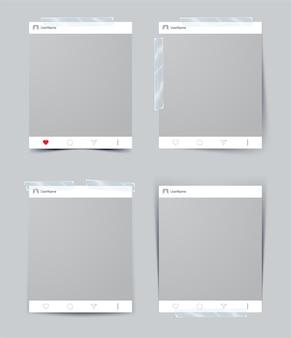 Conjunto de marco de fotos de plantilla de vector con cinta adhesiva