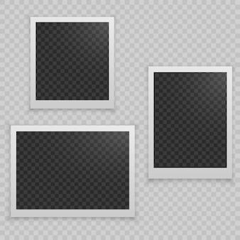Conjunto de marco de fotos realista.