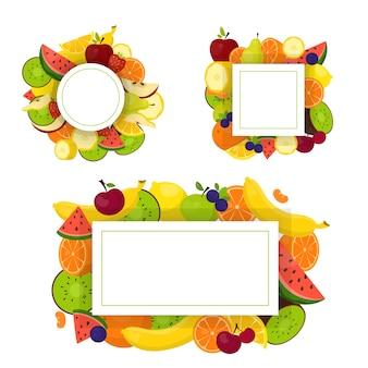 Conjunto de marco de frutas coloridas. colección de fondo tropical
