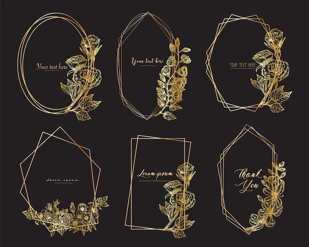 Conjunto de marco geométrico con flores dibujadas a mano. composición botánica.