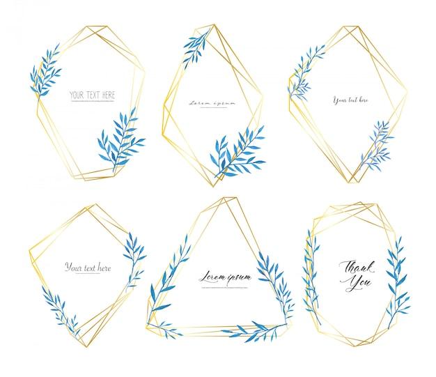 Conjunto de marco geométrico con hojas de acuarela, composición botánica.