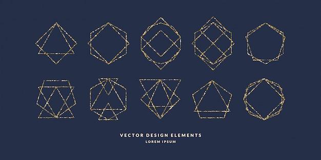 Conjunto de marco geométrico moderno para texto de oro brillo sobre un fondo oscuro. ilustración