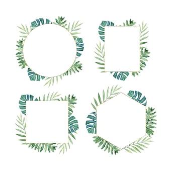 Conjunto de marco de hojas de acuarela
