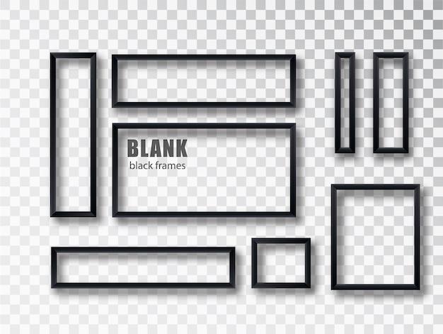 Conjunto de marco de imagen vacío realista negro