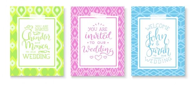Conjunto de marco de invitación de boda; hojas, acuarela