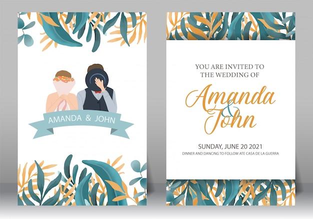 Conjunto de marco de invitación de boda