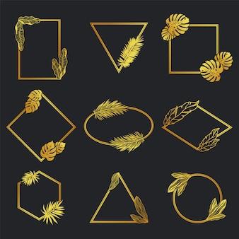 Conjunto de marco de metal dorado