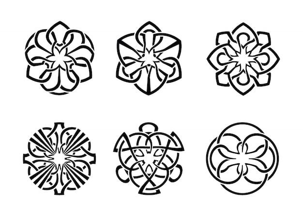 Conjunto de marco ornamental celta redondo