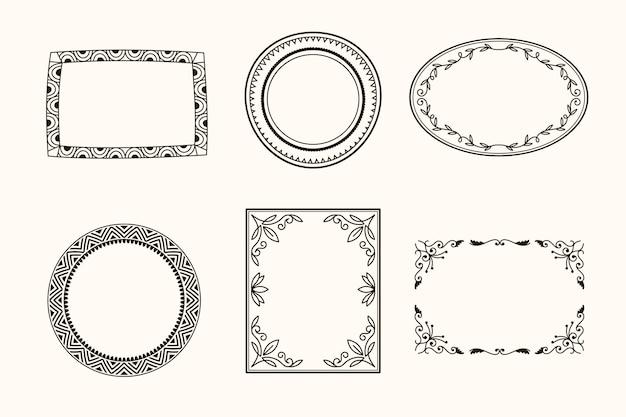 Conjunto de marco ornamental cuadrado y circular