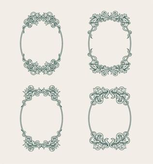 Conjunto de marco ornamental ovalado vintage aislado sobre fondo blanco.