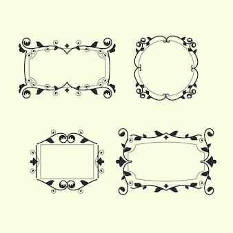 Conjunto de marco ornamental retro