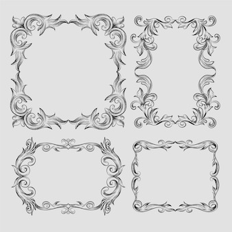 Conjunto de marco ornamental vintage