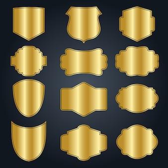 Conjunto de marco de oro vacío vintage en blanco