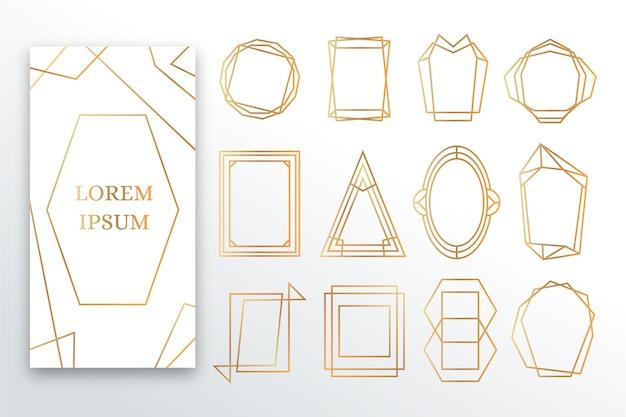 Conjunto de marco poligonal dorado