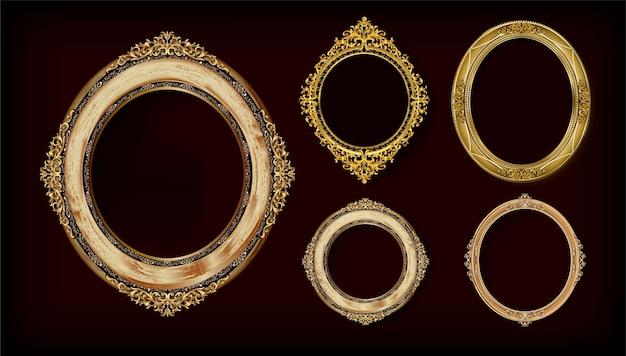 Conjunto de marco real dorado invitación oro.