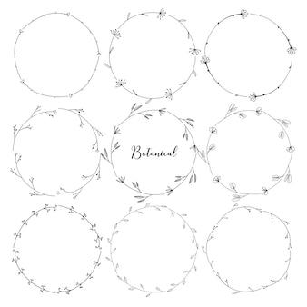 Conjunto de marco redondo botánico, flores dibujadas a mano, composición botánica, elemento decorativo para tarjeta de invitaciones