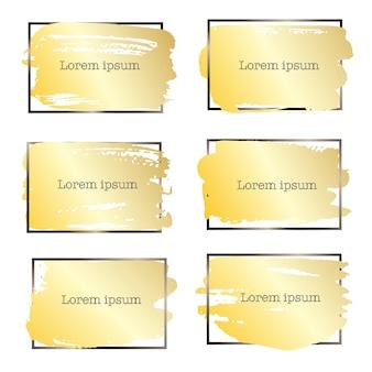 Conjunto de marco de trazo de pincel, pinceladas de grunge oro.