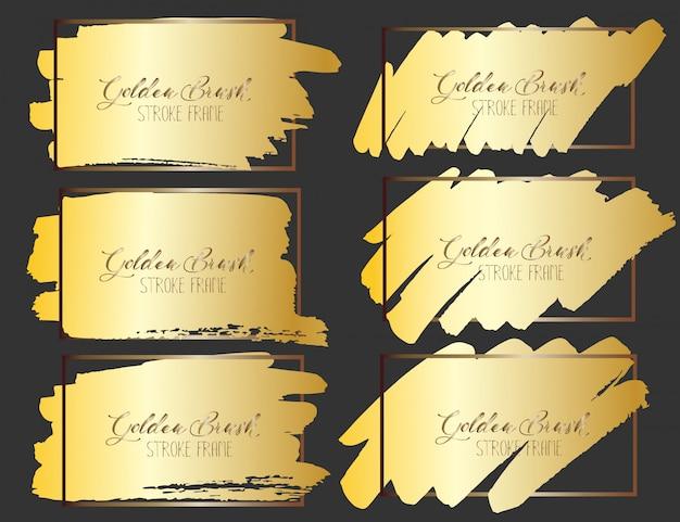 Conjunto de marco de trazo de pincel, pinceladas de oro grunge. ilustracion vectorial
