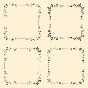 Conjunto de marco vintage ornamental